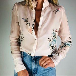 JOIE Elzie Silk Blush Pink Floral Button Up Blouse